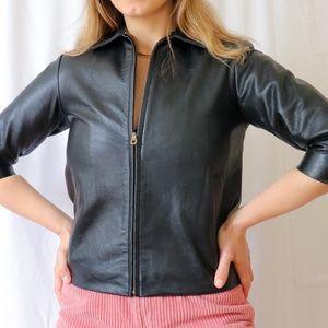 Black short sleeves genuine leather soft jacket